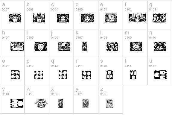 Jugendstil Ornamente Font Fontzonenet